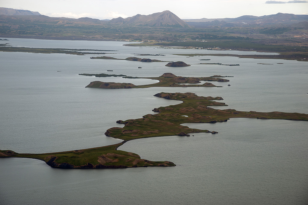 Mývatn Lake, pseudocraters, aerial view
