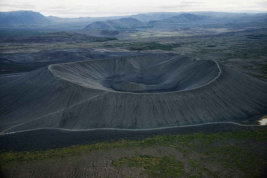 Hverfell volcanic cone, aerial view