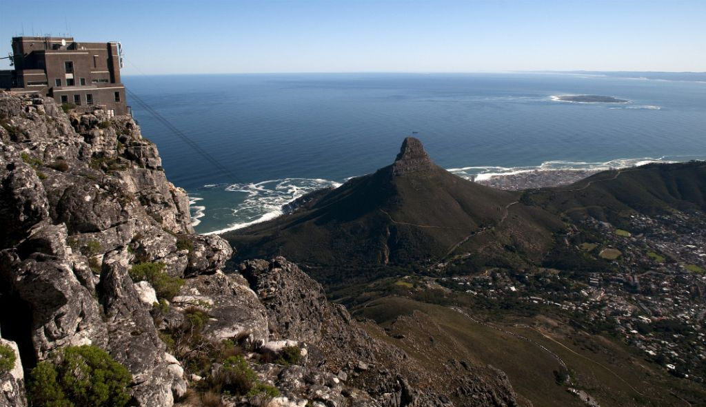 Cape Town, views from Table Mountain:  Lion's Head and Robben Island